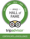 TripAdvisor Hall of Fame Certificate of Excellence 2015